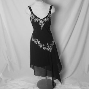 R&M RICHARDS Asymmetrical Embroidered Beaded Gown